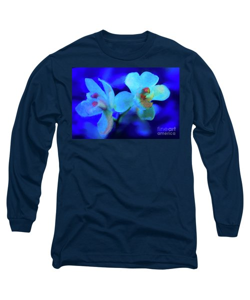 White Painted Orchids Long Sleeve T-Shirt by Darleen Stry