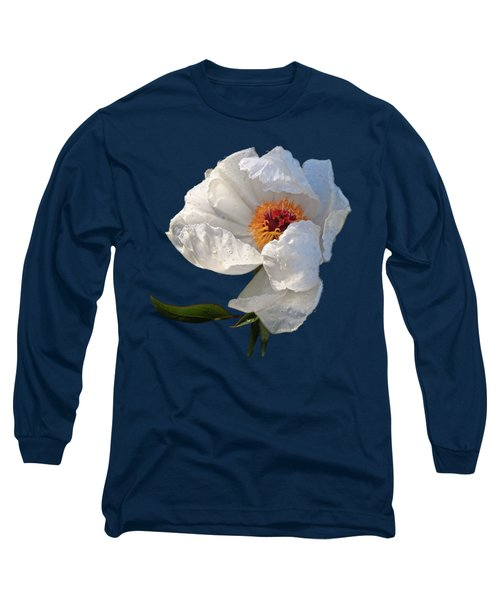 White Peony After The Rain Long Sleeve T-Shirt by Gill Billington
