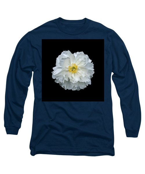 White Peony Long Sleeve T-Shirt by Charles Harden