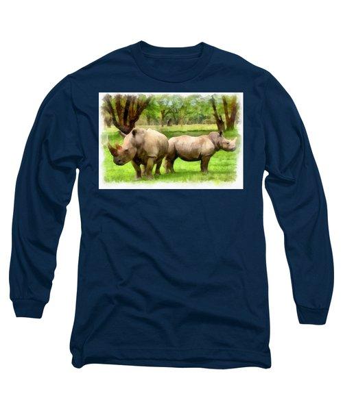 White Rhinos Long Sleeve T-Shirt by Maciek Froncisz