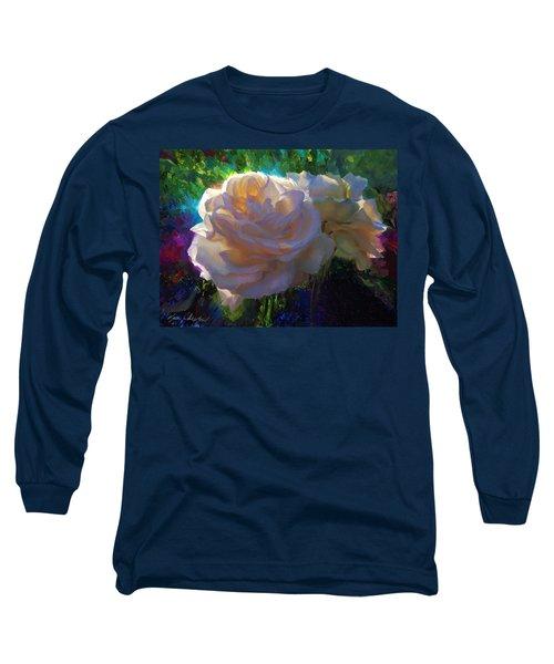 White Roses In The Garden - Backlit Flowers - Summer Rose Long Sleeve T-Shirt