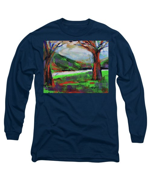 Long Sleeve T-Shirt featuring the painting Wild Flowers On The River Banks by Walter Fahmy