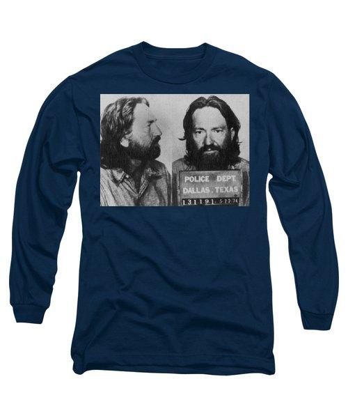 Willie Nelson Mug Shot Horizontal Black And White Long Sleeve T-Shirt