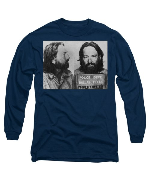 Willie Nelson Mug Shot Horizontal Black And White Long Sleeve T-Shirt