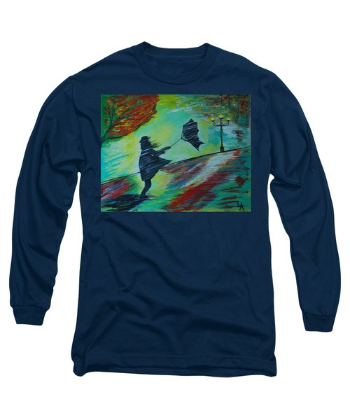 Long Sleeve T-Shirt featuring the painting Windy Escapade by Leslie Allen
