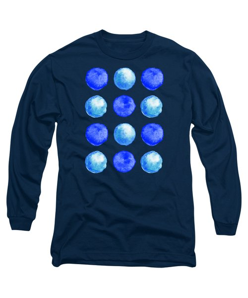 Winter Blue Watercolor Large Dots Pattern Long Sleeve T-Shirt
