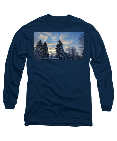 Winter Dawn Over Spruce Trees Long Sleeve T-Shirt