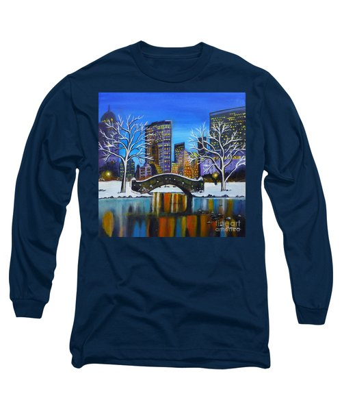 Winter In New York- Night Landscape Long Sleeve T-Shirt