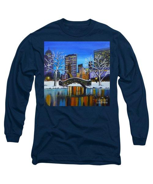 Winter In New York- Night Landscape Long Sleeve T-Shirt