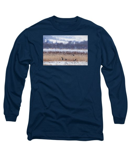 Winter Lapwings Long Sleeve T-Shirt by Liz Leyden