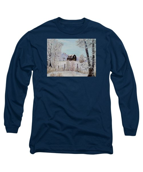 Long Sleeve T-Shirt featuring the painting Winter Solace by Marilyn  McNish