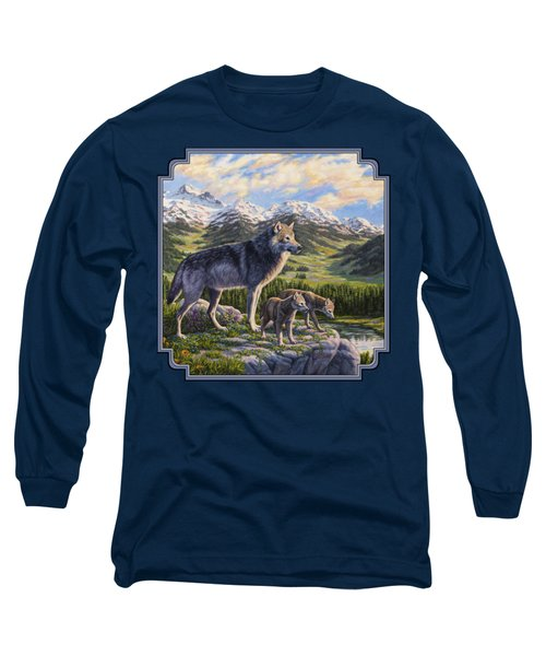 Wolf Painting - Passing It On Long Sleeve T-Shirt by Crista Forest