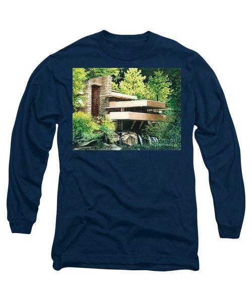 Fallingwater-a Woodland Retreat By Frank Lloyd Wright Long Sleeve T-Shirt by Barbara Jewell