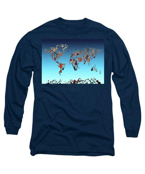 Long Sleeve T-Shirt featuring the digital art World Map Music 6 by Bekim Art