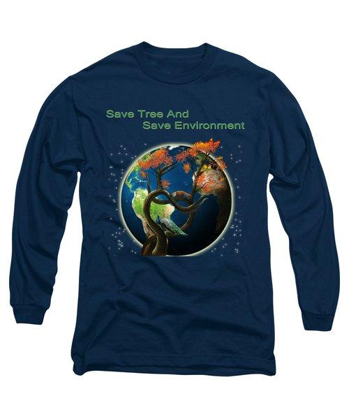 World Needs Tree Long Sleeve T-Shirt by Artist Nandika  Dutt