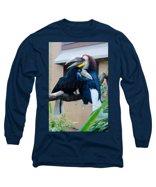 Wreathed Hornbills Long Sleeve T-Shirt by Donna Brown