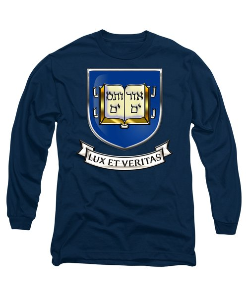 Yale University Seal - Coat Of Arms Over Colours Long Sleeve T-Shirt by Serge Averbukh