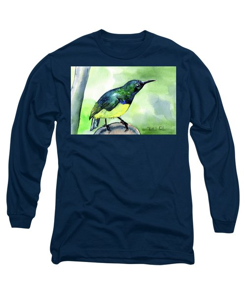 Long Sleeve T-Shirt featuring the painting Yellow Bellied Sunbird by Dora Hathazi Mendes