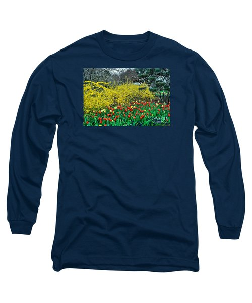 Long Sleeve T-Shirt featuring the photograph Yellow Forsythia by Diana Mary Sharpton
