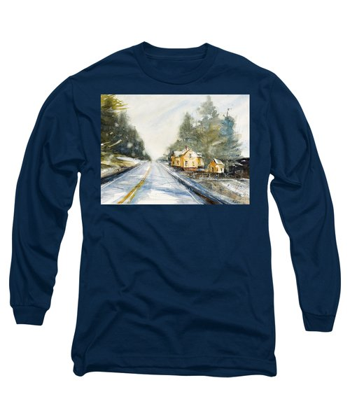 Yellow House On The Right Long Sleeve T-Shirt by Judith Levins