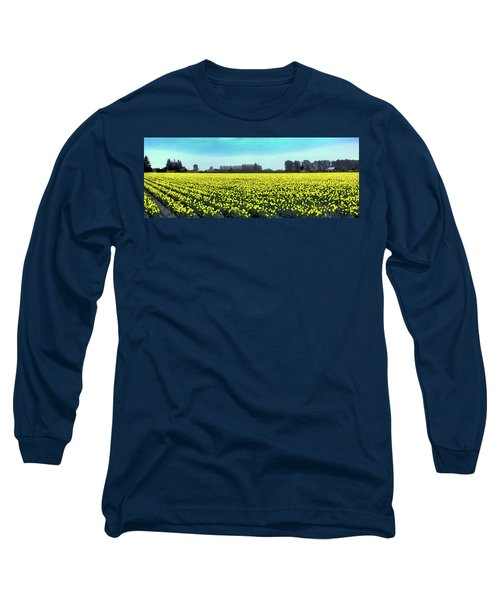 Yellow Tulip Fields Long Sleeve T-Shirt by David Patterson