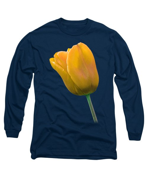 Yellow Tulip On Black Long Sleeve T-Shirt by Gill Billington