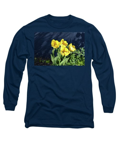 Yellow Tulips Long Sleeve T-Shirt by Kathleen Stephens