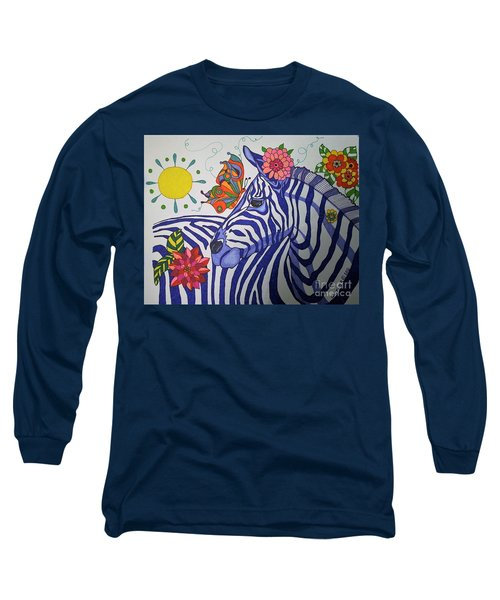 Long Sleeve T-Shirt featuring the painting Zebra And Things by Alison Caltrider