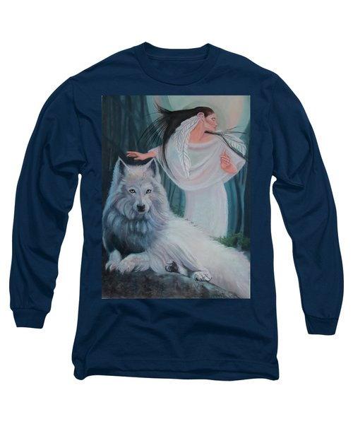 Zuni Maiden With Her White Wolf Long Sleeve T-Shirt