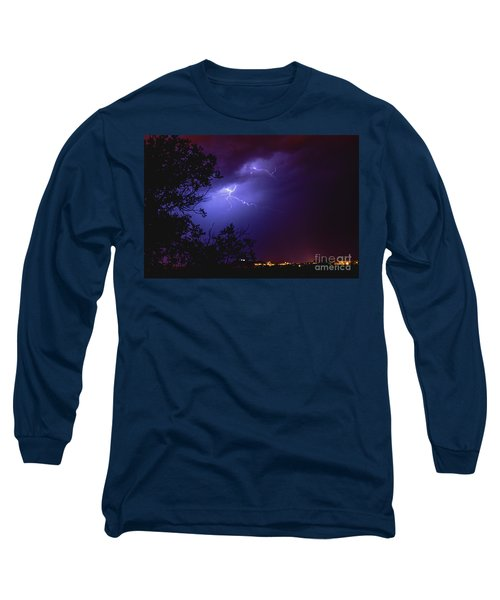 Rays In A Night Storm With Light And Clouds. Long Sleeve T-Shirt