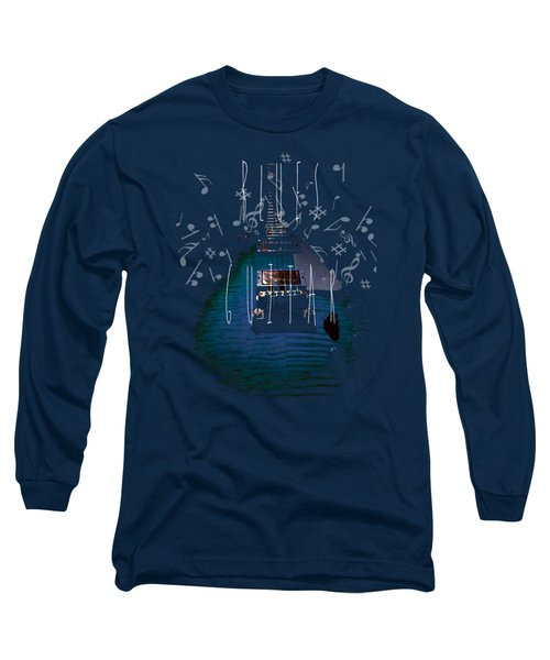 Long Sleeve T-Shirt featuring the photograph Blues Guitar Music Notes by Guitar Wacky