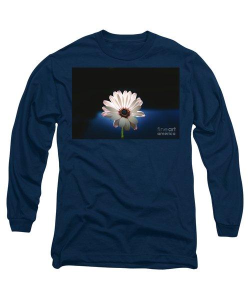 Beautiful And Delicate White Female Flower Dark Background Illum Long Sleeve T-Shirt
