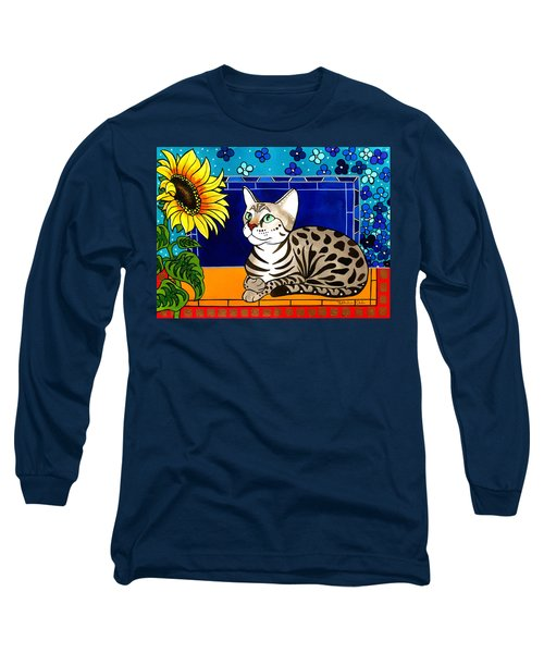 Beauty In Bloom - Savannah Cat Painting Long Sleeve T-Shirt