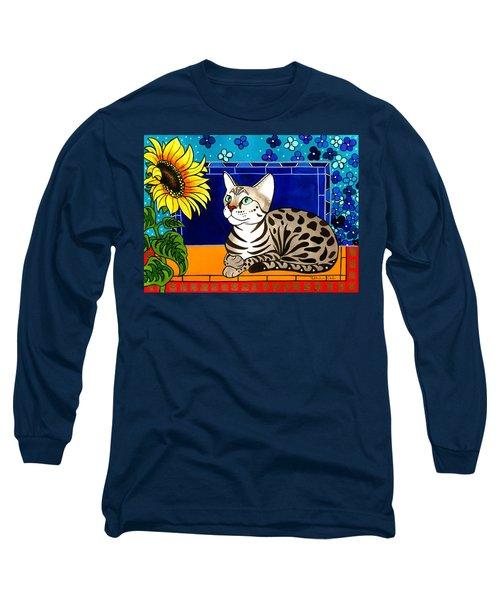Beauty In Bloom - Savannah Cat Painting Long Sleeve T-Shirt