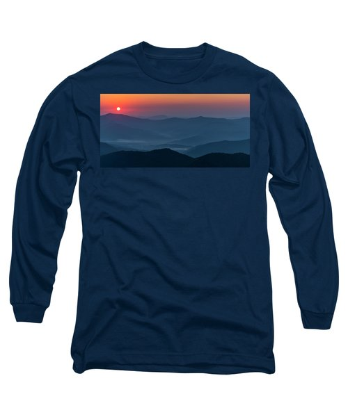 Long Sleeve T-Shirt featuring the photograph Brasstop Bald Sunrise Panorama by Andy Crawford