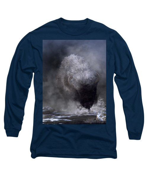 Buffalo Charging Through Snow Long Sleeve T-Shirt
