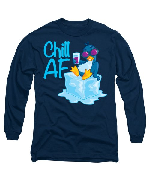 Chill Af Penguin On Ice Long Sleeve T-Shirt