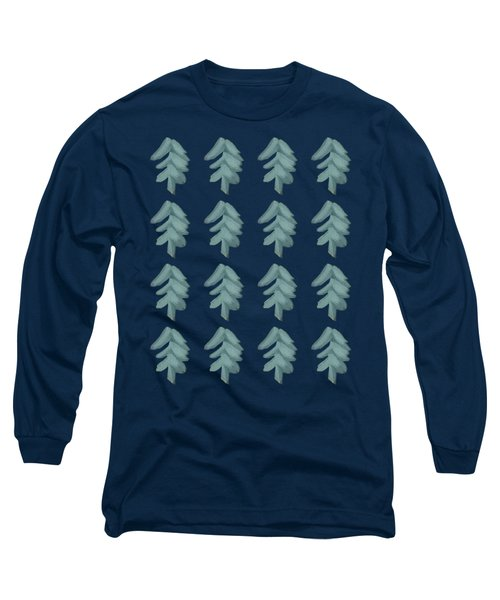Long Sleeve T-Shirt featuring the painting Christmas Tree Pattern by Maria Langgle