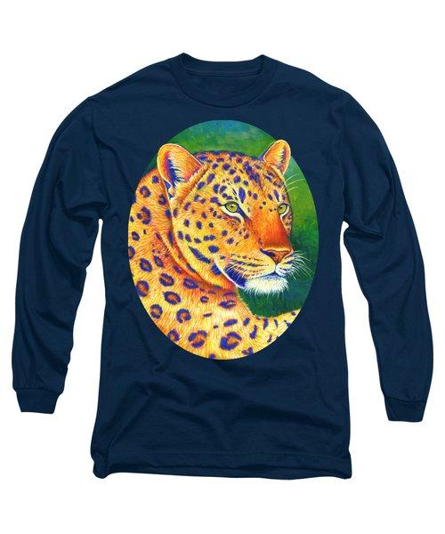 Colorful Leopard Portrait Long Sleeve T-Shirt