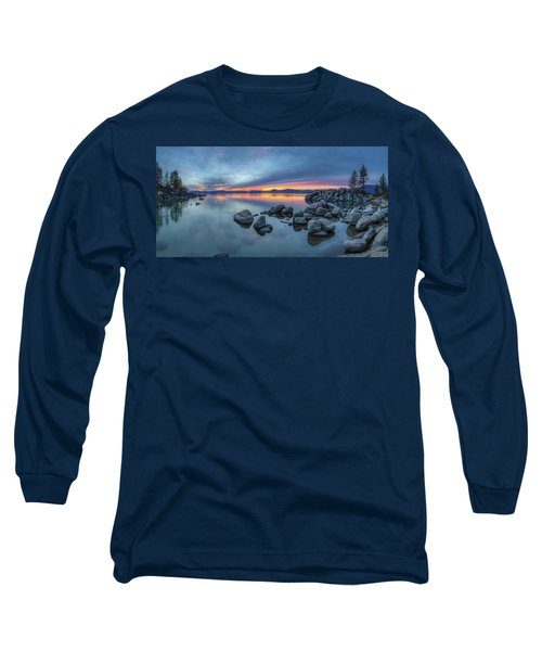 Colorful Sunset At Sand Harbor Panorama Long Sleeve T-Shirt