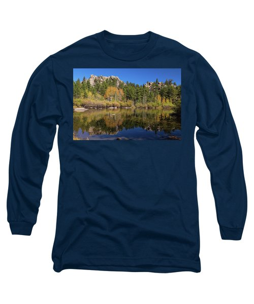 Long Sleeve T-Shirt featuring the photograph Cool Calm Rocky Mountains Autumn Reflections by James BO Insogna