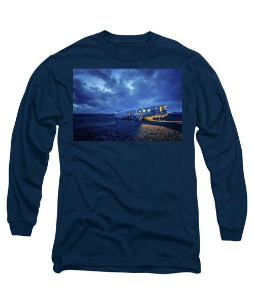 Dc-3 Plane Wreck Illuminated Night Iceland Long Sleeve T-Shirt