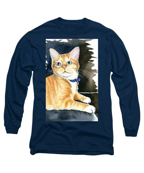 Diego Ginger Tabby Cat Painting Long Sleeve T-Shirt