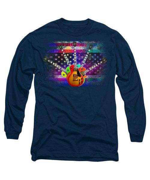 Long Sleeve T-Shirt featuring the photograph Five Guitars by Guitar Wacky
