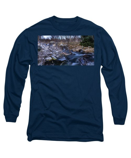 Frozen River And Winter In Forest Long Sleeve T-Shirt