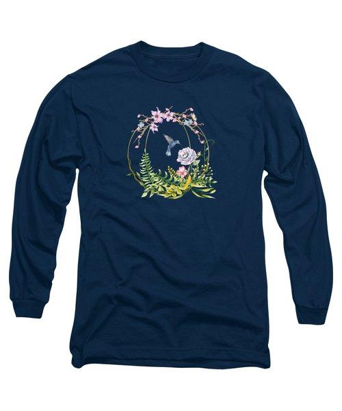 Glittering Golden Floral Hummingbird Terrarium Long Sleeve T-Shirt