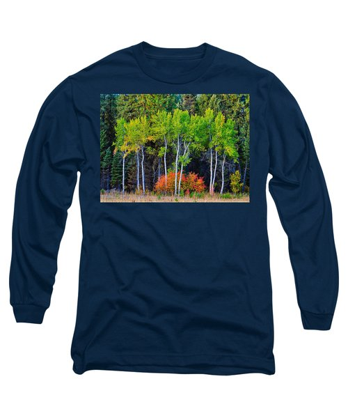 Green Aspens Red Bushes Long Sleeve T-Shirt