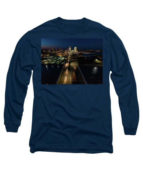 Long Sleeve T-Shirt featuring the photograph Hoan Bridge Streaks by Randy Scherkenbach