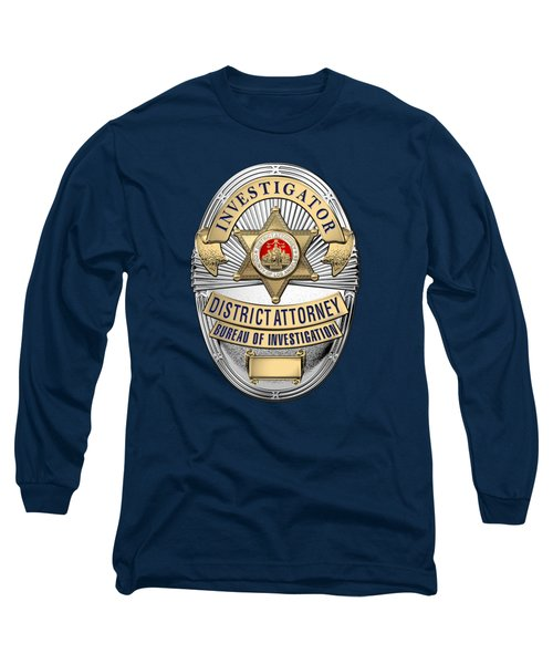 Los Angeles County District Attorney - Investigator Badge Over Blue Velvet Long Sleeve T-Shirt