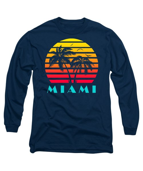 Miami 80s Tropical Sunset Long Sleeve T-Shirt